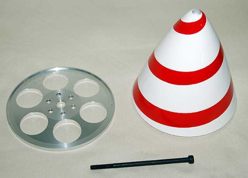Spinner, 120mm diameter, red/white spiral (Patty Wagstaff)